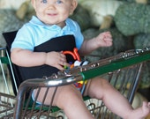 Kanga Boo, a support belt for shopping carts, creates a stable seat for Infants Toddlers. Fabric blk with toy loops