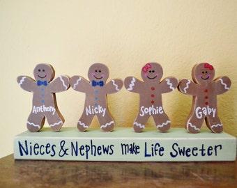 Custom Wooden Gingerbread Children Personalized Blocks