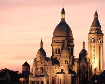 Paris Sunset photo, Sacre Coeur Cathedral, Montmartre, Church, Architecture, Orange, Pink Yellow, Christmas, home decor,  romance