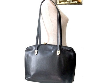 POURCHET LARGE   leather black bag  shoulder
