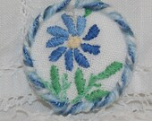 Embroidered Brooch - re-purposed vintage linen blue daisy framed by couching
