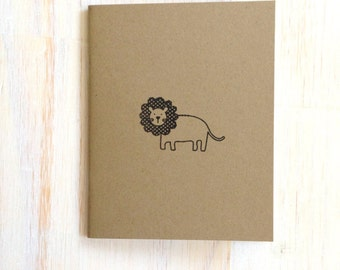 Medium Notebook: Cute, Lion, Brown, Kids, Baby Shower, Fun, Kraft, Small, Wedding, Journal, For Her, For Him, Unique, Gift, Notebook