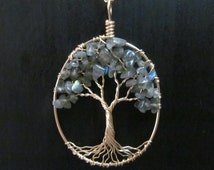 Labradorite Tree of Life, 14k Gold Filled, Solid Silver, Grey, Blue, and Gold Tree, Calm Depression