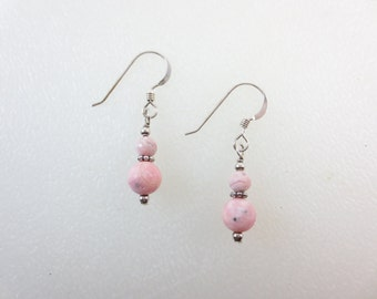 Rhodochrosite Earrings Stacked - 4 & 6 mm - Pink Earrings - Sterling Silver Earrings - 14k Gold Fill Earrings - Dangle Earrings