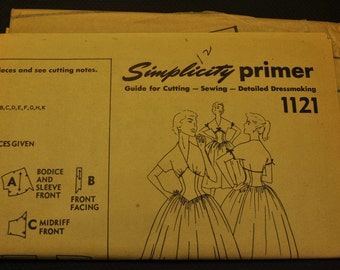 Vintage 1950s Misses' One Piece Dress UNCUT Sewing Pattern Simplicity 1121 Size 12 Bust 30 - Retro Prom or Bridesmaids Dress