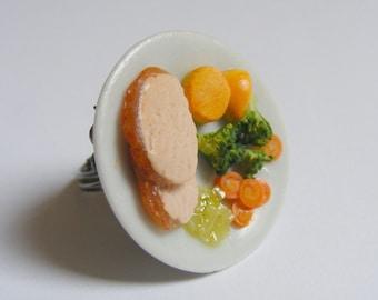 Food Jewelry Roast Pork Dinner Miniature Food Ring - Miniature Food Jewellery,Mini Food Jewelry,Food Jewellery,Handmade Jewelry,Kawaii