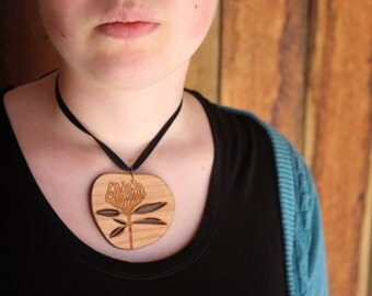 Wildflower Wooden Pendant,  Waratah Wood Pendant,  Native Flower, Made in Australia