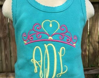Monogram Princess Crown Shirt - Personalized Shirt - Personalized Name Shirt - Monogram Shirt - Girl - Toddler - Baby - Crown - Tiara