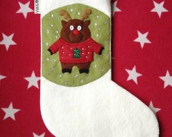 Wool Felt Christmas Stocking Rudolf Reindeer ugly sweater jumper handmade festive presents