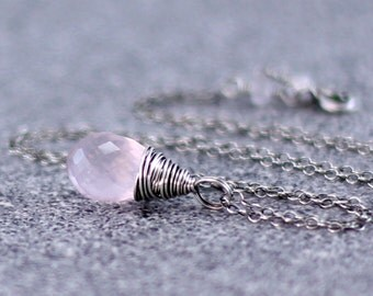 Rose Quartz Necklace, Oxidized Sterling Silver Pink Gemstone Rose Quartz Pendant Wire Wrapped Rose Quartz Jewelry