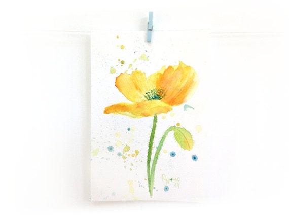 Yellow poppy illustration original watercolor by SandraOvono