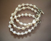 Three Bridesmaids Bracelets Jewelry White Freshwater Pearl Wedding Bridal Gift 008