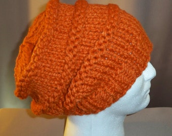 Slouchy Beanie Hat Tam Baggy Beret Hand Knit Cap Mens Womens Winter Wool Orange