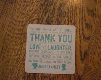 Custom Thank You Coasters - Organic Silhouettes