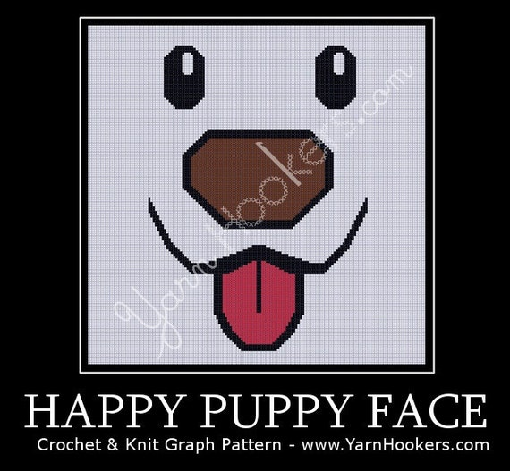 Happy Puppy Face - Afghan Crochet Graph Pattern Chart - Instant Download