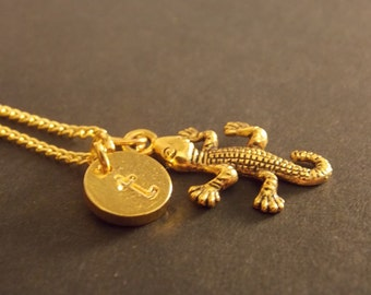 Personalized Charm Necklace- Gold Lizard