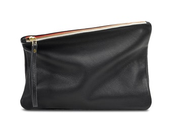 Black leather clutch, women purse