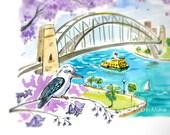 "Sydney Harbour Bridge Print-- 8"" x 10"""