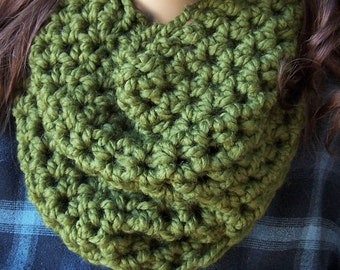 CILANTRO COWL scarf crocheted green cowl chunky crochet neck warmer handmade wool blend crocheted scarf women dark green asparagus avocado