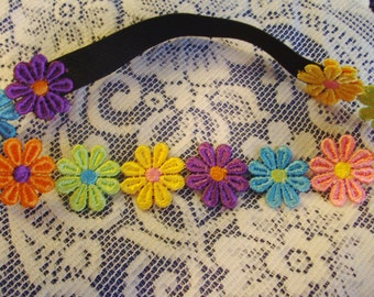 Flower Headband - Bright Colored Headband - Rainbow Headband - Multicolor Headband - Flower Headband - Stretch Headband