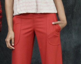 Tailored Wide-Leg Trouser with Quilt-Stitched Waist in Wool Suiting. Red Good-Ass Pant. Multiple Fabrics, MadeToOrder.