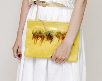 35% off ADORA  5 / Natural leather & feather clutch bag - Ready to Ship
