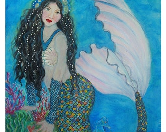 8 x 10 -Original Mermaid Print-Ocean-Sea Wonders-Home Decor-Coral Reef- Child's Room_Girl's Room- Ocean Print-Little Mermaid
