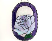 Stained Glass Rose, Window Panel, Flower Suncatcher, Hanging Decoration, Purple Iridescent Glass, Garden Art, Unique Handmade Gifts