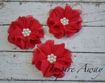 Set of 3-Red Pearl Chiffon Flowers- Flower applique, fabric flower, wholesale flowers, chiffon flowers, headband supply