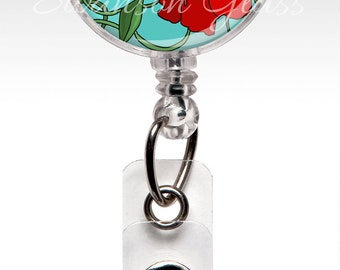 Retractable id badge clips - Flower Badge Reel - Red Poppies Aquamarine - Name Badge Reel Clips - Nurse Badge - ID Badges 253