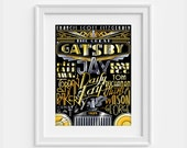The Great Gatsby  poster dedicated to the novel by Francis Scott Fitzgerald (12,60 x 18,10) Hand lettering
