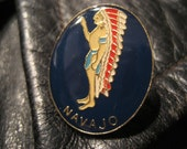 Vintage Navajo Indian Native American Feather Headdress Pin Badge Button Enamel Motorcycle Biker