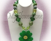 Chunky necklace Green Clover Chunky Necklace - Green Gumball Beads Necklace - BubbleGum Necklace - Girls jewelry - St Patrick's day necklace - MyFlowerZone