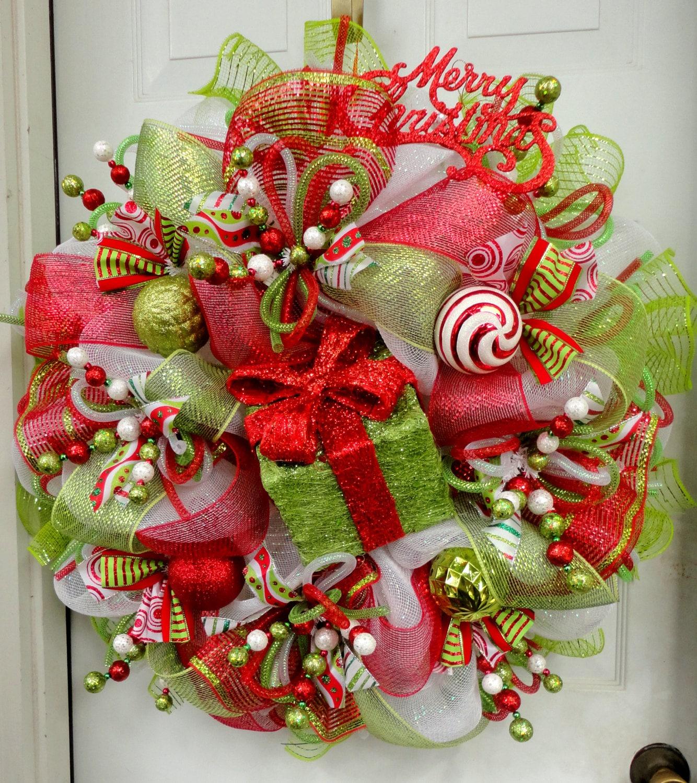 Wreath Ideas: HuGE LIMItED Edition RAZ Deco Mesh Christmas Wreath Red