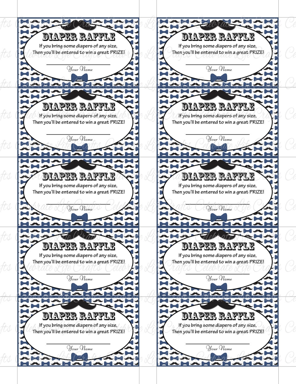 Printable Diaper Raffle Tickets Baby Shower Instant Download