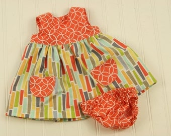 Baby Girl Spring Dress, Girls & Toddler Summer Outfit Dress, Matching Fabrics Dress, Full Skirt Birthday Dress Baby Outfit, Baby Girl Dress