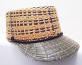 Straw Baseball Hat - Vintage Woven Mens Hipster Cap
