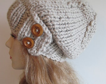 Slouchy Beanie Slouch Wool Hats Oversized Baggy Hat Two Buttons Taupe Grey womens fall winter accessory Grey Super Chunky Hand Made Knit