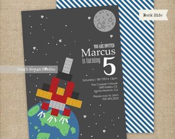 Building blocks spaceship birthday invitation set   Printable or Printed