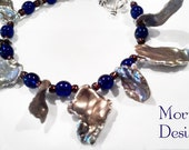 Atlantis. OOAK beaded pearl bracelet.