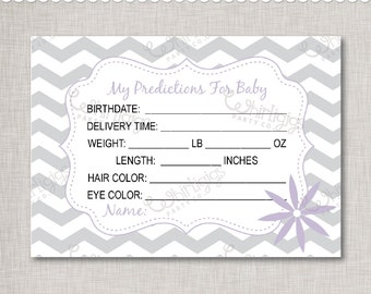 Predictions For Baby - Printable Baby Shower Cards - Lavender Purple & Silver Grey -  INSTANT DOWNLOAD