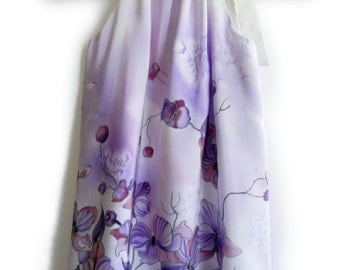 Violet silk dress for kids. Hand painted pillowcase dress.Ready to ship.