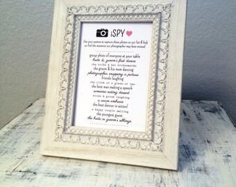 INSTANT DOWNLOAD - iSpy Wedding Game 5x7 - DIY printable sign