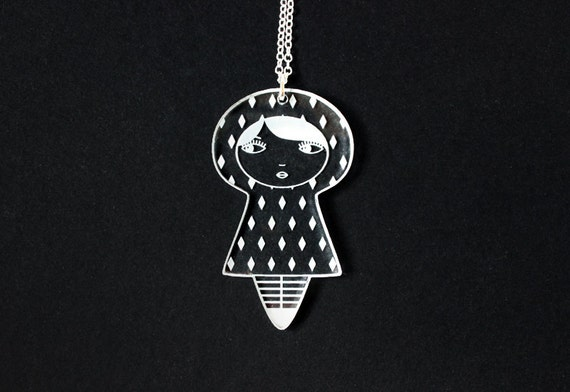 Doll necklace - diamond pattern - graphic kokeshi pendant - cute matriochka jewelry - russian doll jewellery - lasercut clear acrylic