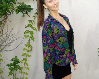 90's Button Up Shirt Abstract Blouse, Purple, Green, Blue and Black Floral Blouse Bohemian Top // Small/Petite // Boho Festival Shirt