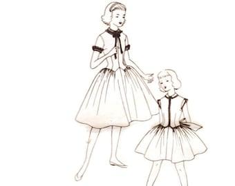 1950s Girls Dress Pattern Simplicity 1495, Party Dress, Long Line Bodice, Basque Waist, 1956 Vintage Sewing Pattern Child Size 10 Uncut