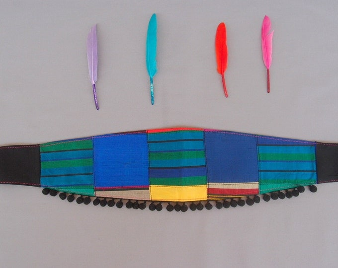 Blue Fabric Women Belt Silk Ribbon Belt Pom Pom Obi Belt Silk Patchwork Belt