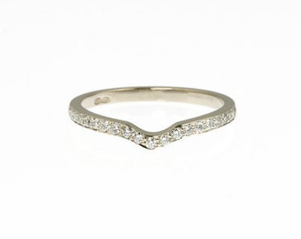 Diamond ring, Wedding band, White Gold, Thin ring, Thin diamond ring, White gold ring, simple band, eternity ring, curved, anniversary
