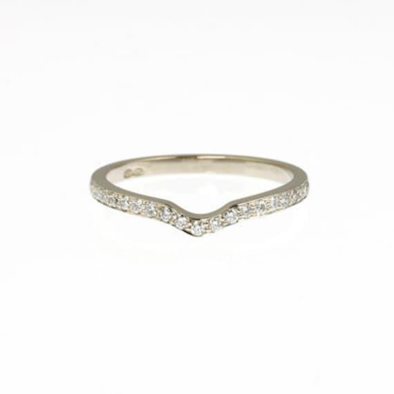 Diamond ring Wedding band White Gold Thin ring Thin