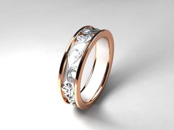 Diamond ring rose gold white gold two tone wedding band